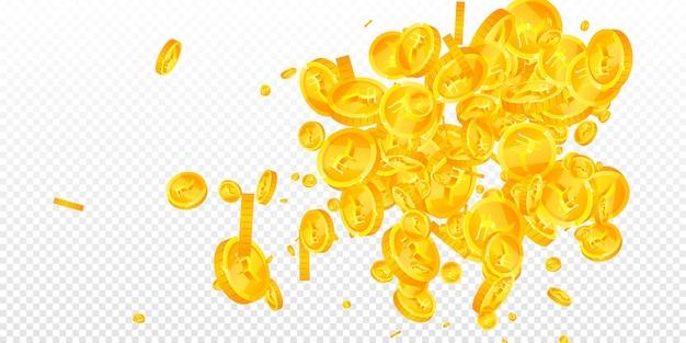 Monedas de rupias indias cayendo. monedas inr finas dispersas. dinero de la india. concepto de premio gordo, riqueza o éxito jugoso. ilustración vectorial.
