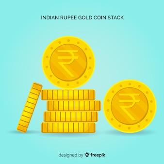 Monedas de rupias indias doradas apiladas