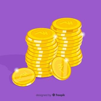 Monedas de rupias indias doradas y apiladas