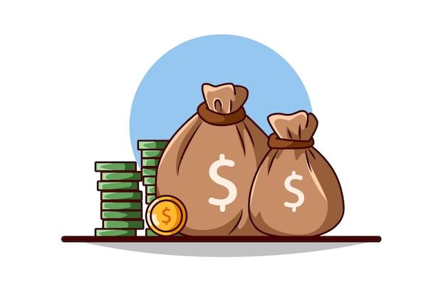Monedas y sacos de dinero