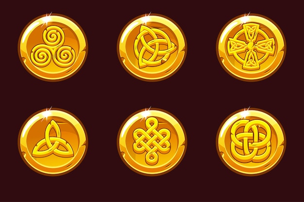 Monedas con símbolos celtas. dibujos animados set iconos celtas.