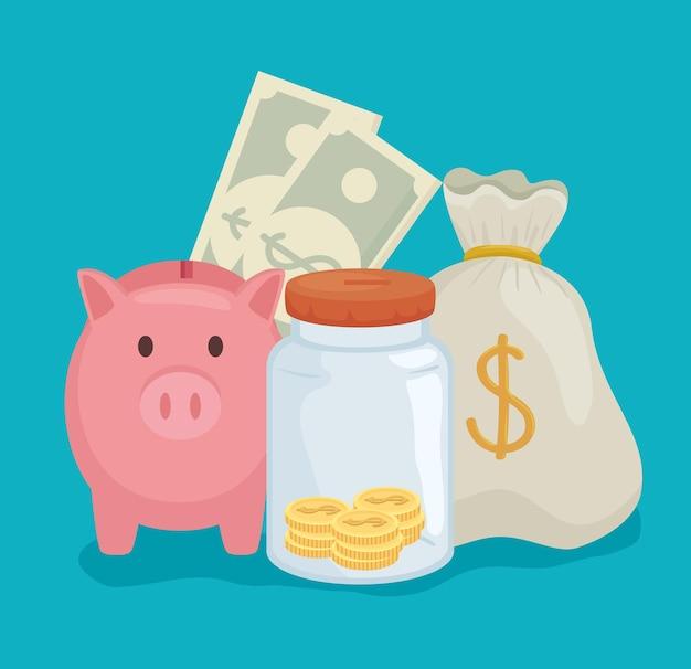 Monedas tarro alcancías y bolsa de dinero negocio bancario comercio y mercado tema ilustración vectorial