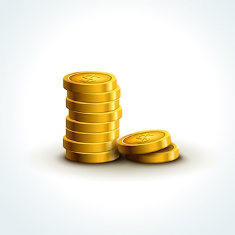 Monedas vectoriales aisladas. economía de éxito de monedas de oro. ganar el premio mayor del tesoro