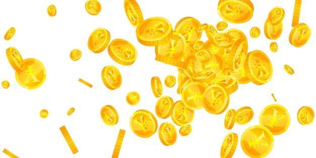 Monedas de yuanes chinos cayendo. monedas cny frescas dispersas. dinero de china. premio creativo, riqueza o concepto de éxito. ilustración vectorial.