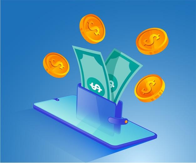 Monedero digital y dinero con un teléfono inteligente