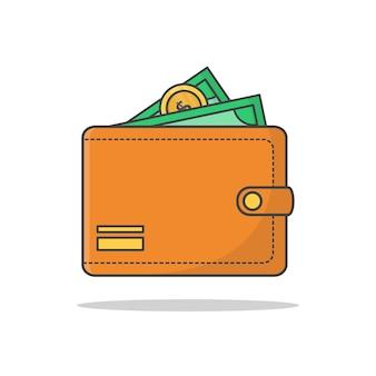 Monedero con dinero en efectivo aislado en blanco