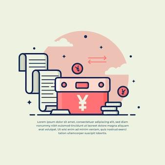 Monedero con diseño plano del símbolo de yen