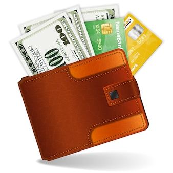 Monedero con dólares y tarjetas de crédito