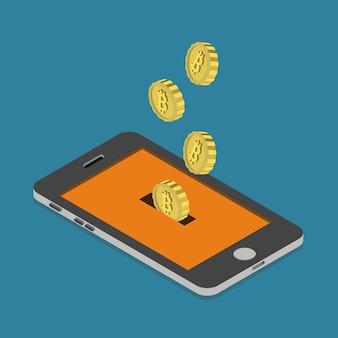 Monedero de minería de pago de moneda en línea bitcoin isométrica plana