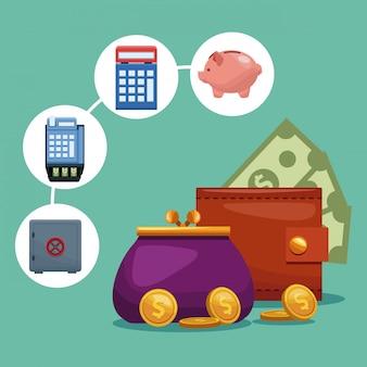 Monedero y monedero con concepto de símbolos de dinero