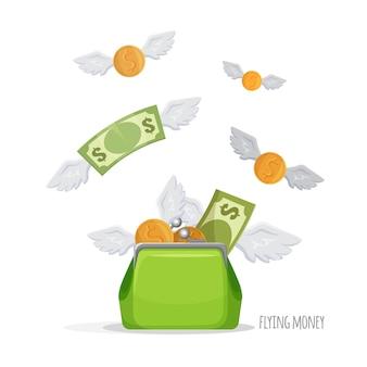 Monedero verde lleno de dinero simbólico.