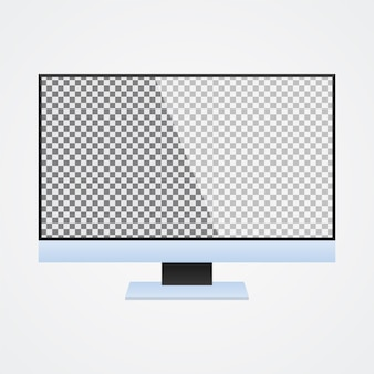 Monitor de computadora se burla con pantalla transparente en blanco