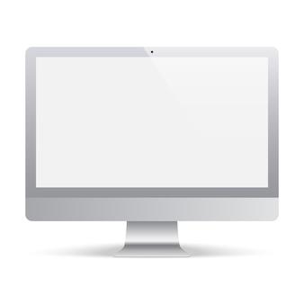 Monitor de la computadora de color gris con pantalla en blanco. monitor de visualización realista y detallado
