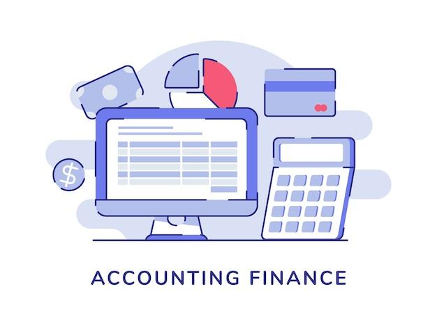 Monitor de computadora de contabilidad financiera cercano