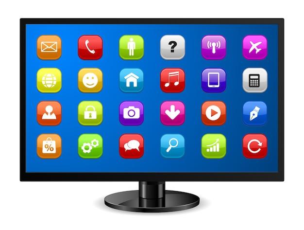 Monitor de computadora con icono de aplicaciones
