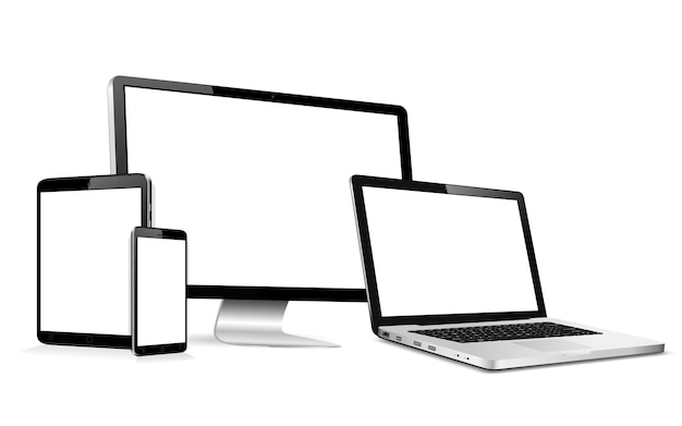 Monitor de computadora moderna, computadora portátil, tableta digital y teléfono móvil con pantalla en blanco