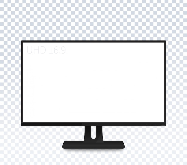 Monitor de computadora con pantalla ancha en blanco