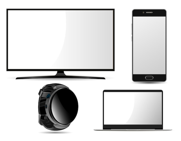 Monitor, computadora portátil, reloj inteligente y teléfono móvil