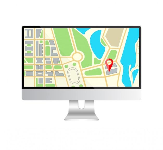 Monitor de computadora realista con navegación de mapa en una pantalla.