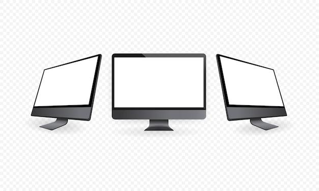 Monitor de computadora realista en vista frontal y lateral. maqueta de escritorio de metal con pantalla en blanco. plantilla de computadora en color gris espacial. eps vectoriales 10.