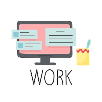 Monitor con cuadros de diálogo trabajo de letras estilo de dibujos animados