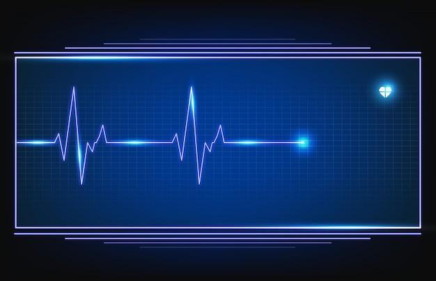 Monitor digital de onda de pulso de línea de pulso ecg con hud