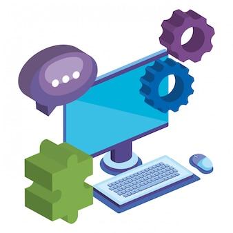 Monitor de negocios y conjunto de elementos