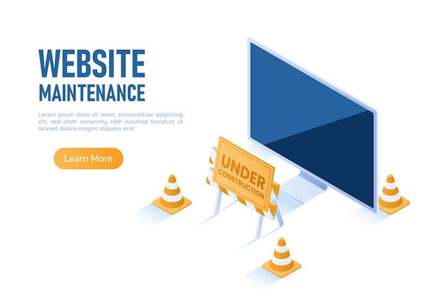 Monitor de pc de banner web isométrico 3d con barrera en construcción y conos de tráfico. sitio web bajo concepto de mantenimiento.