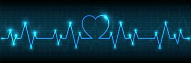 Monitor de pulso de corazón azul con fondo de señal
