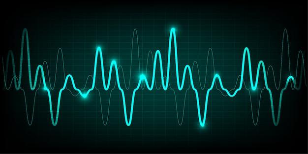 Monitor de pulso corazón azul con señal