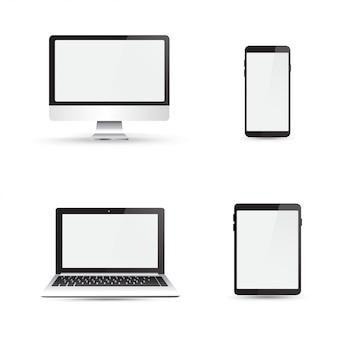 Monitor realista, computadora portátil, tableta y teléfono inteligente