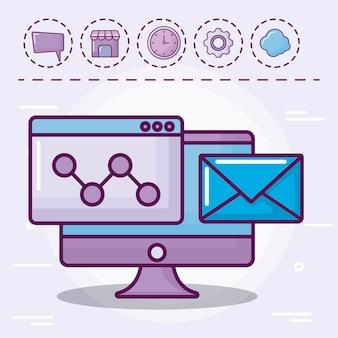 Monitor con sobres de correo y set de iconos.