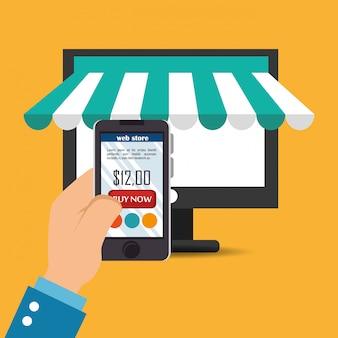 Monitorear la computadora con los iconos de comercio electrónico