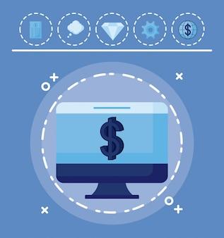 Monitorear la computadora con set iconos economía finanzas