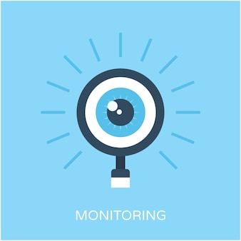 Monitoreo de icono de vector plano