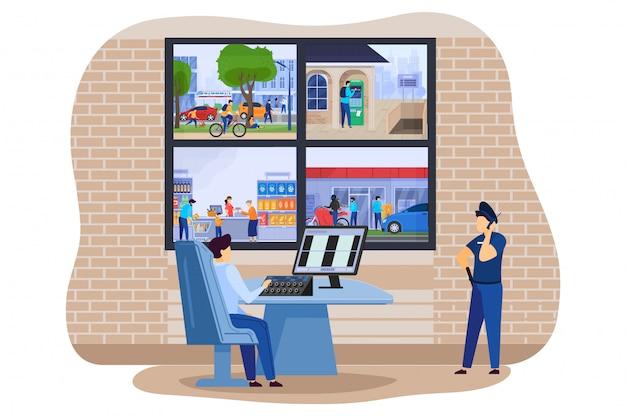 Monitores de cámaras de seguridad para el hogar en la oficina de policía con ilustración de sistema de alarma de guardia ladrón de casa inteligente seguro.