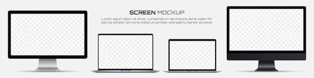 Monitores de computadora y computadoras portátiles con pantalla en blanco.