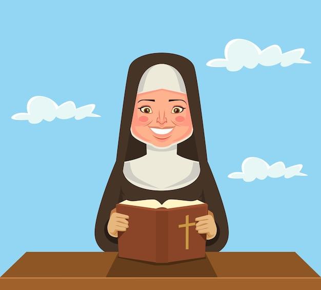 Monja leyendo la biblia