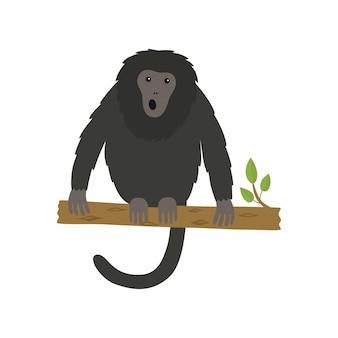 Mono aullador sentado en la rama de un árbol. ilustración de vector aislado sobre fondo blanco.