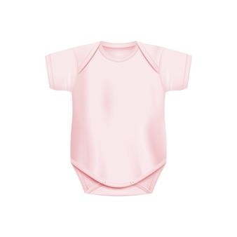 Mono de bebé recién nacido rosa claro realista aislado