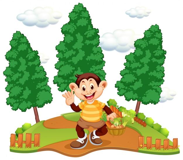 Un mono con cesta de verduras.
