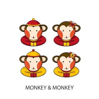 Mono chino feliz año nuevo
