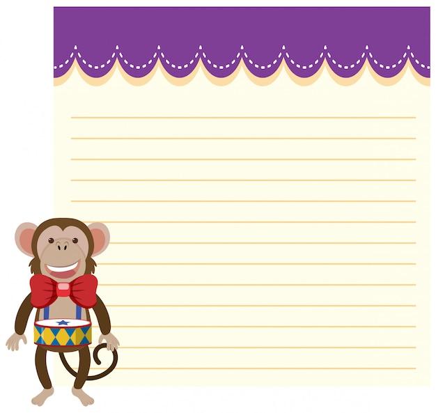 Mono de circo en plantilla de nota