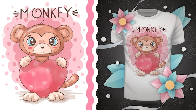 Mono con corazón - animal de personaje de dibujos animados infantil