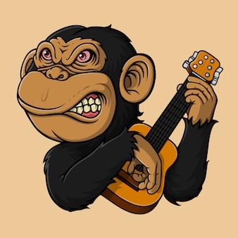 Mono dibujado a mano tocando la guitarra