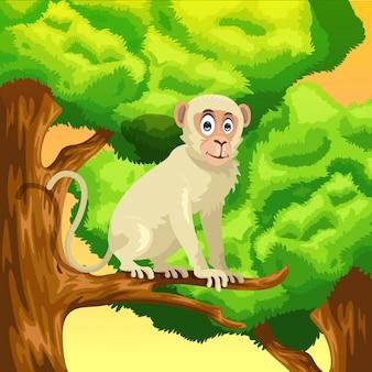 Mono de dibujos animados en el árbol