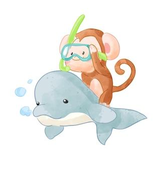 Mono de dibujos animados en máscara de snorkel montando ilustración de delfines