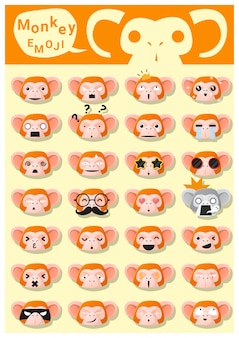 Mono emoji iconos