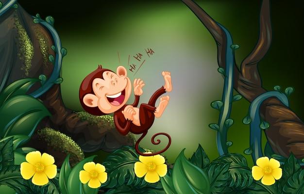 Mono feliz en el bosque profundo