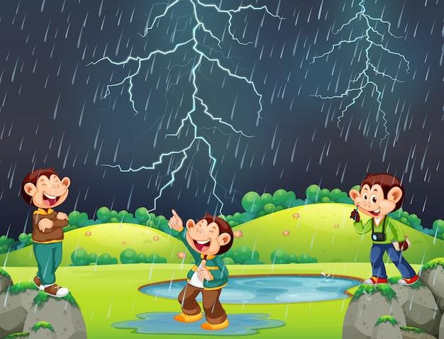 Mono feliz en escena lluviosa